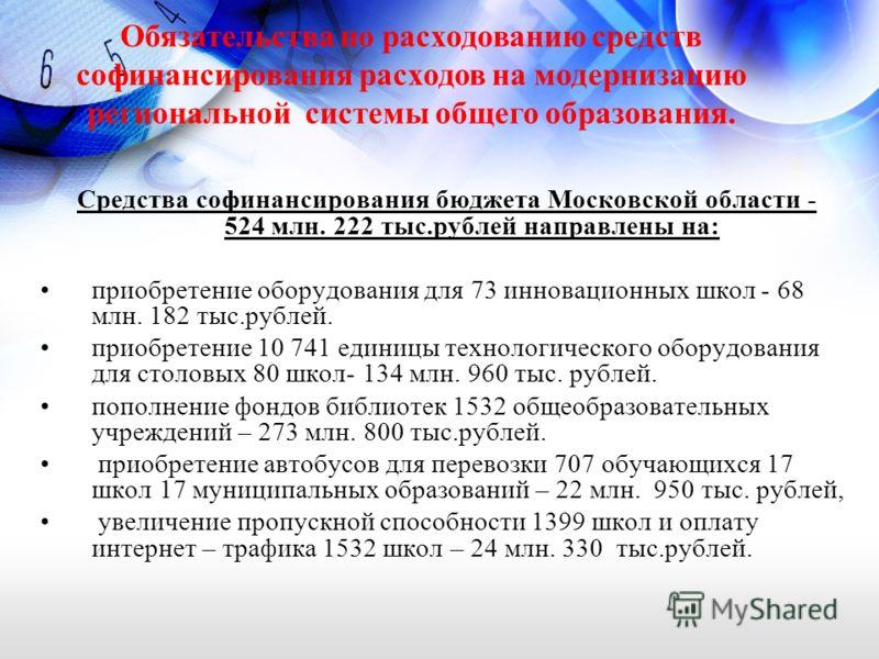 Средства софинансирования бюджета Московской области - 524 млн. 222 тыс.рублей направлены на: приобретение оборудования для 73 инновационных школ - 68 млн. 182 тыс.рублей. приобретение 10 741 единицы технологического оборудования для столовых 80 школ