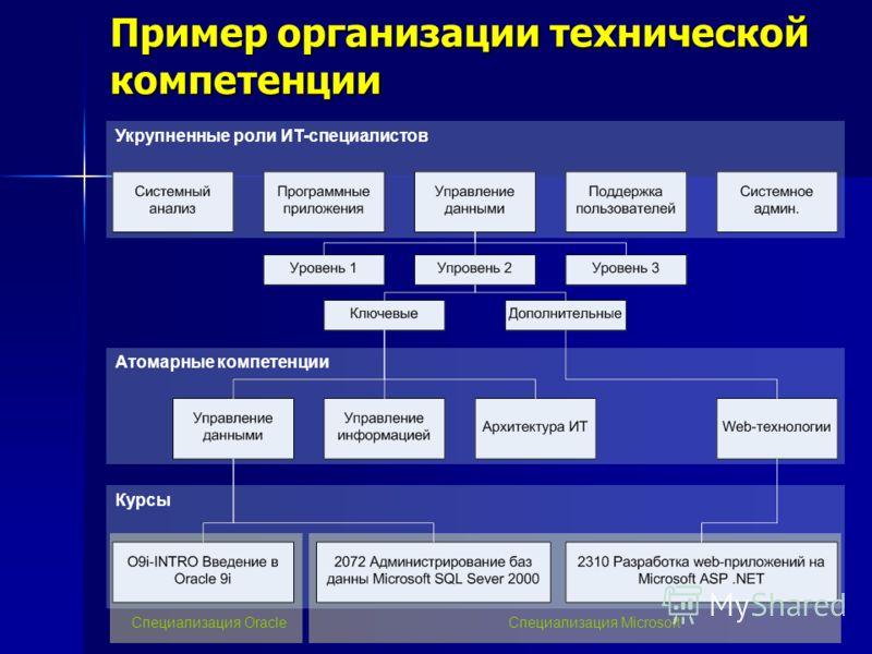 Пример организации технической компетенции Укрупненные роли ИТ-специалистов Атомарные компетенции Курсы Специализация OracleСпециализация Microsoft