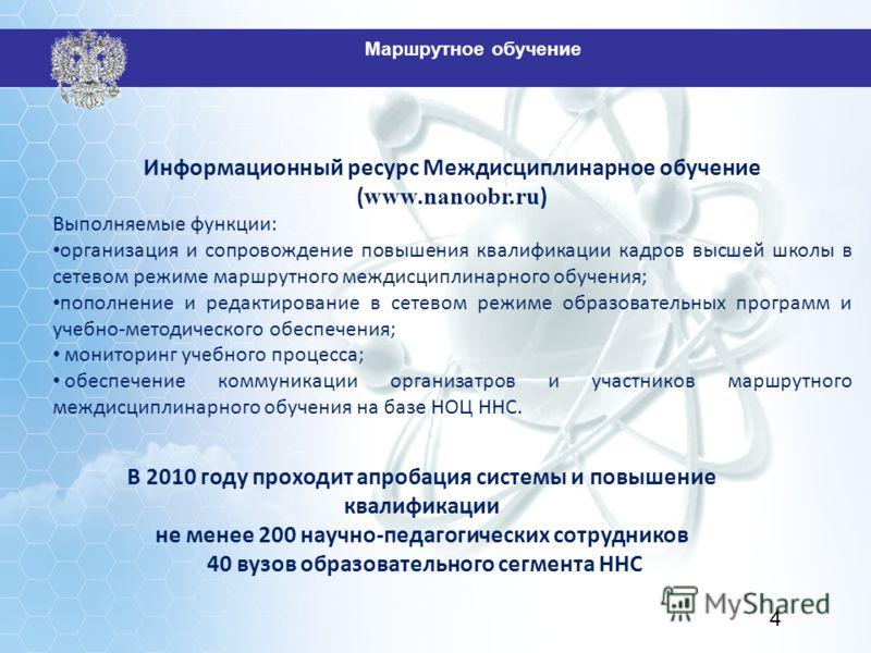 Информационный ресурс Междисциплинарное обучение ( www.nanoobr.ru ) Выполняемые функции: организация и сопровождение повышения квалификации кадров высшей школы в сетевом режиме маршрутного междисциплинарного обучения; пополнение и редактирование в се