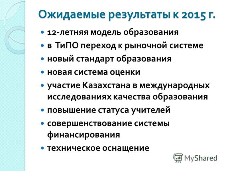 Ожидаемые результаты к 2015 г. 12- летняя модель образования в ТиПО переход к рыночной системе новый стандарт образования новая система оценки участие Казахстана в международных исследованиях качества образования повышение статуса учителей совершенст
