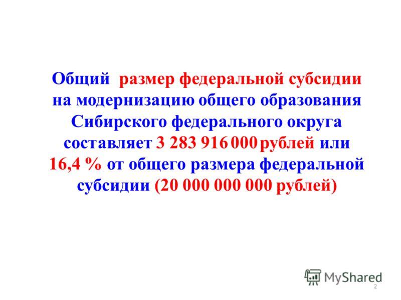 Общий размер федеральной субсидии на модернизацию общего образования Сибирского федерального округа составляет 3 283 916 000 рублей или 16,4 % от общего размера федеральной субсидии (20 000 000 000 рублей) 2