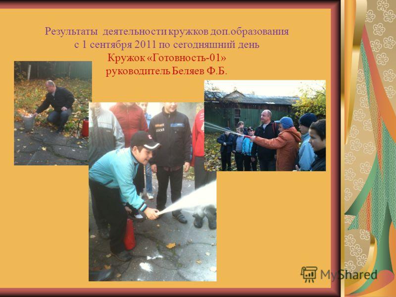 Результаты деятельности кружков доп.образования с 1 сентября 2011 по сегодняшний день Кружок «Готовность-01» руководитель Беляев Ф.Б.