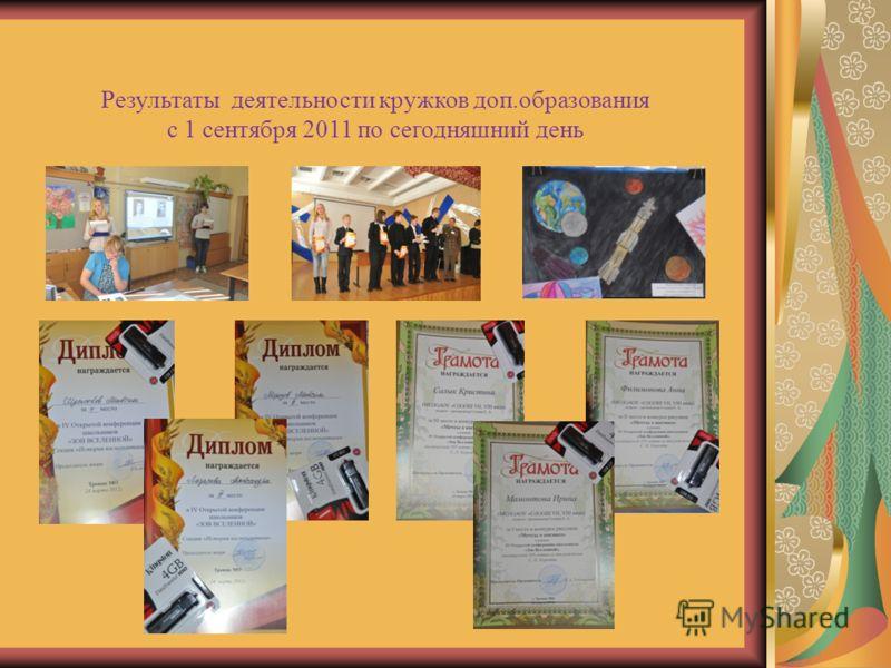 Результаты деятельности кружков доп.образования с 1 сентября 2011 по сегодняшний день