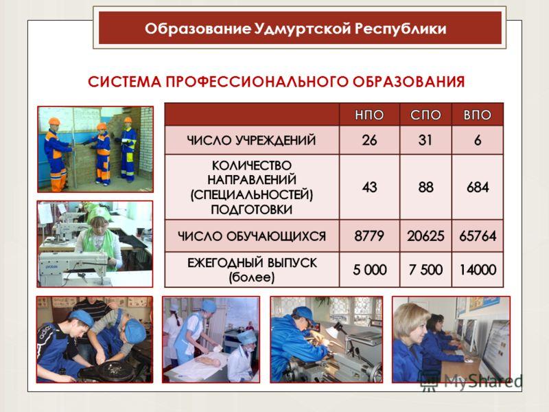 Образование Удмуртской Республики СИСТЕМА ПРОФЕССИОНАЛЬНОГО ОБРАЗОВАНИЯ
