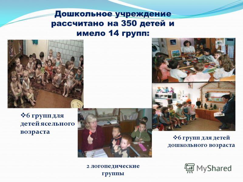 Дошкольное учреждение рассчитано на 350 детей и имело 14 групп: 6 групп для детей ясельного возраста 6 групп для детей дошкольного возраста 2 логопедические группы