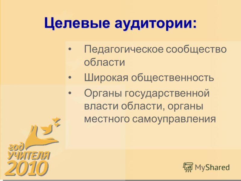 Целевые аудитории: Педагогическое сообщество области Широкая общественность Органы государственной власти области, органы местного самоуправления