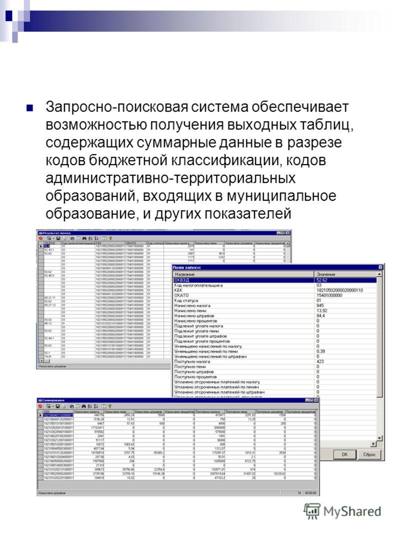 Запросно-поисковая система обеспечивает возможностью получения выходных таблиц, содержащих суммарные данные в разрезе кодов бюджетной классификации, кодов административно-территориальных образований, входящих в муниципальное образование, и других пок