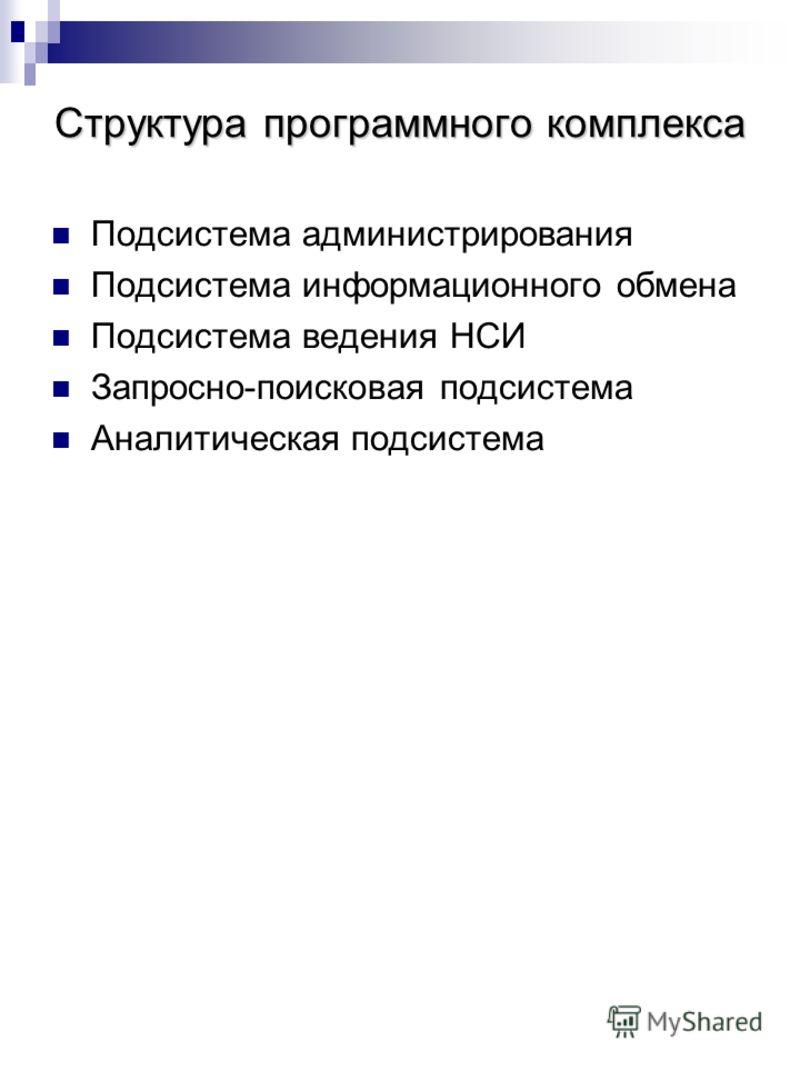 Структура программного комплекса Подсистема администрирования Подсистема информационного обмена Подсистема ведения НСИ Запросно-поисковая подсистема Аналитическая подсистема