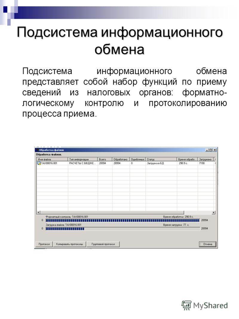 Подсистема информационного обмена Подсистема информационного обмена представляет собой набор функций по приему сведений из налоговых органов: форматно- логическому контролю и протоколированию процесса приема.