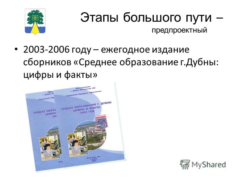 Этапы большого пути – предпроектный 2003-2006 году – ежегодное издание сборников «Среднее образование г.Дубны: цифры и факты»