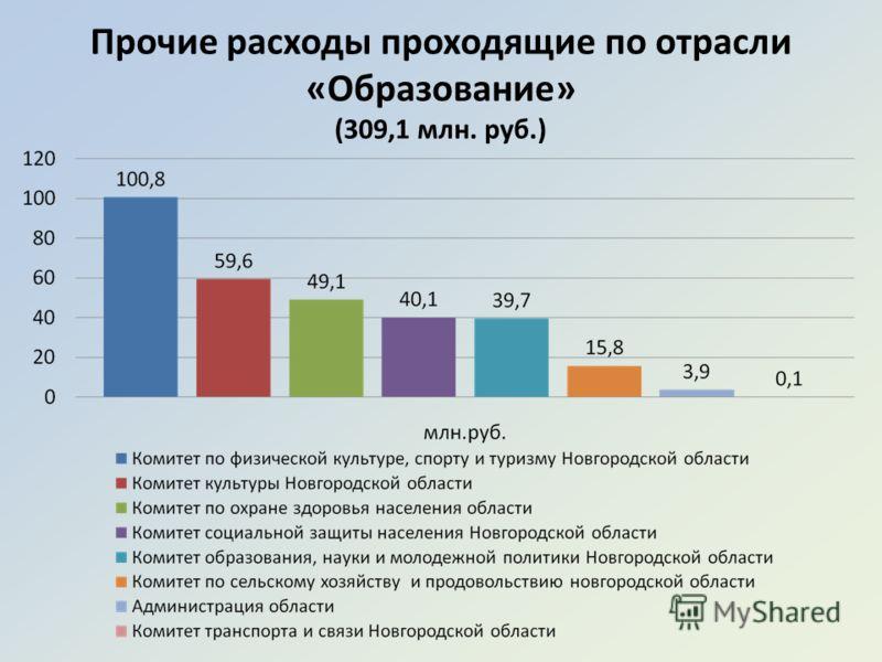 Прочие расходы проходящие по отрасли «Образование» (309,1 млн. руб.)