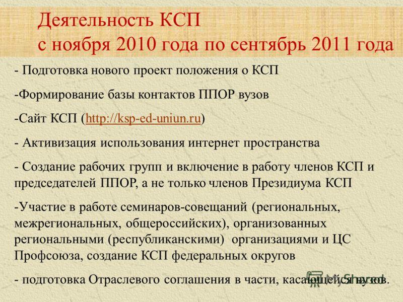 - Подготовка нового проект положения о КСП -Формирование базы контактов ППОР вузов -Сайт КСП (http://ksp-ed-uniun.ru)http://ksp-ed-uniun.ru - Активизация использования интернет пространства - Создание рабочих групп и включение в работу членов КСП и п