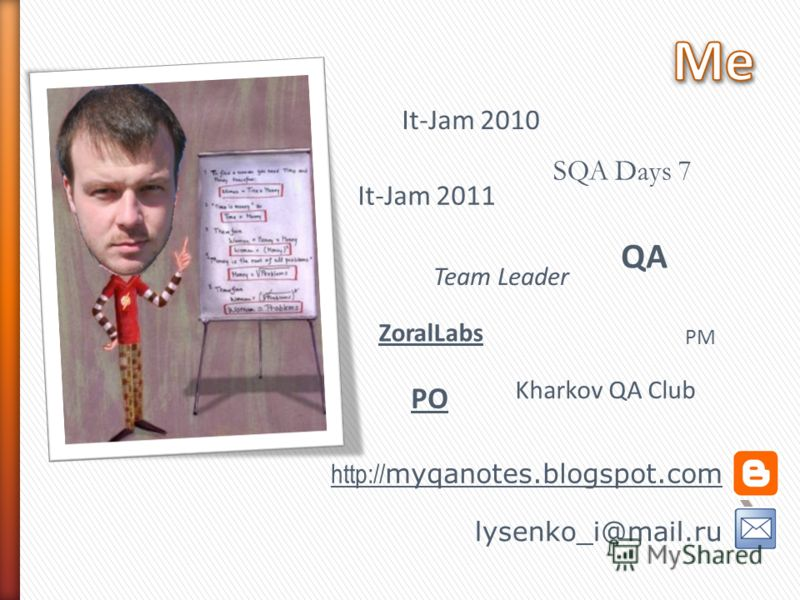 PM Team Leader SQA Days 7 Kharkov QA Club ZoralLabs It-Jam 2010 lysenko_i@mail.ru http:// myqanotes.blogspot.com It-Jam 2011 PO QA