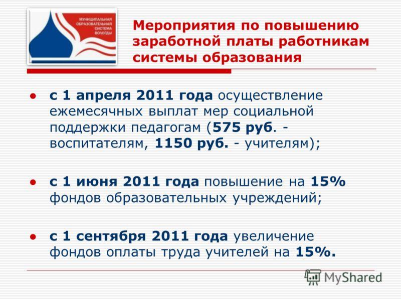 Мероприятия по повышению заработной платы работникам системы образования с 1 апреля 2011 года осуществление ежемесячных выплат мер социальной поддержки педагогам (575 руб. - воспитателям, 1150 руб. - учителям); с 1 июня 2011 года повышение на 15% фон