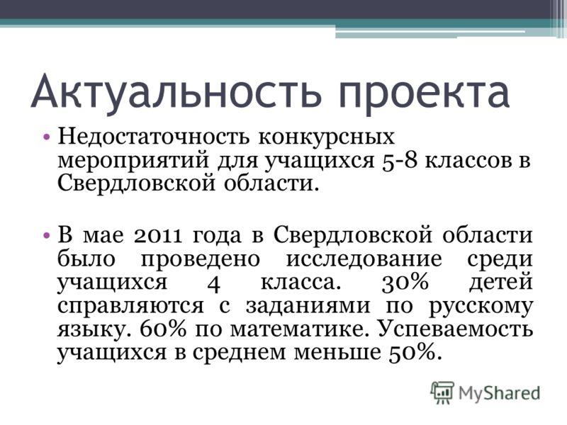 Актуальность проекта Недостаточность конкурсных мероприятий для учащихся 5-8 классов в Свердловской области. В мае 2011 года в Свердловской области было проведено исследование среди учащихся 4 класса. 30% детей справляются с заданиями по русскому язы