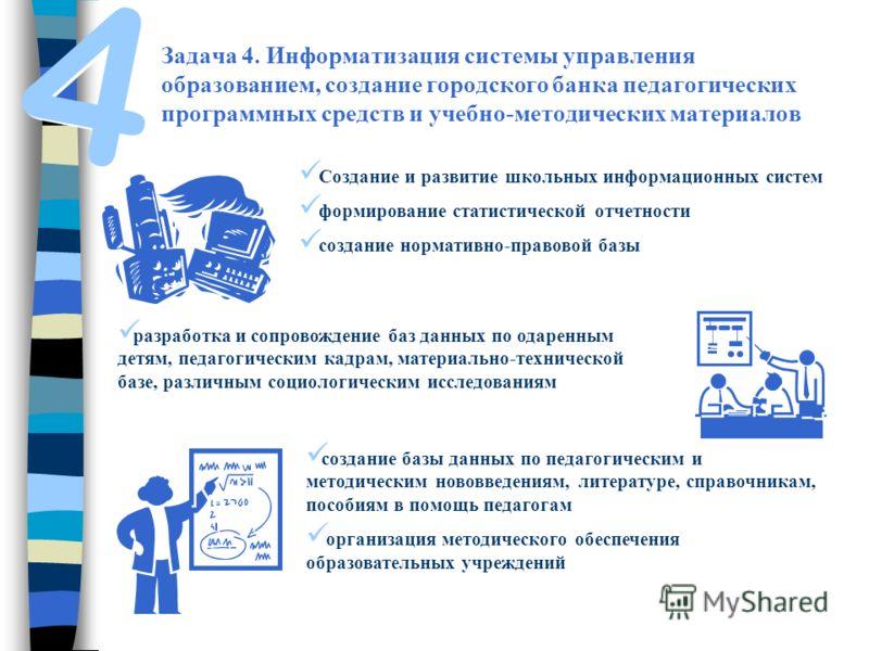 Задача 4. Информатизация системы управления образованием, создание городского банка педагогических программных средств и учебно-методических материалов Создание и развитие школьных информационных систем формирование статистической отчетности создание