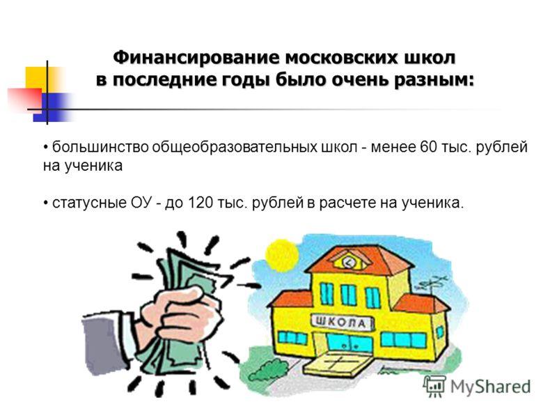 большинство общеобразовательных школ - менее 60 тыс. рублей на ученика статусные ОУ - до 120 тыс. рублей в расчете на ученика. Финансирование московских школ в последние годы было очень разным: