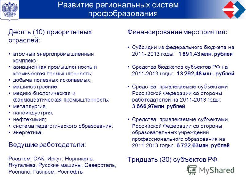 ФЦПРО 2011-2015 – основная целевая программа системы российского образования Развитие региональных систем профобразования Десять (10) приоритетных отраслей: атомный энергопромышленный комплекс; авиационная промышленность и космическая промышленность;