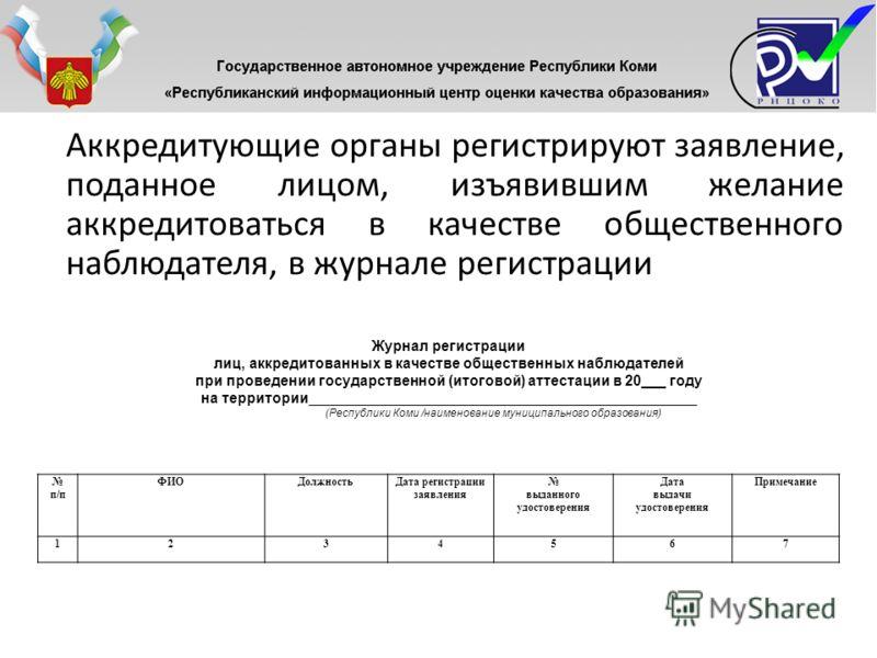 Аккредитующие органы регистрируют заявление, поданное лицом, изъявившим желание аккредитоваться в качестве общественного наблюдателя, в журнале регистрации п/п ФИОДолжностьДата регистрации заявления выданного удостоверения Дата выдачи удостоверения П