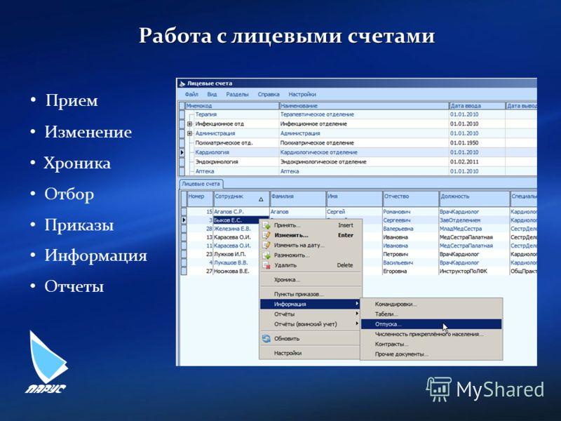 Работа с лицевыми счетами Прием Изменение Хроника Отбор Приказы Информация Отчеты