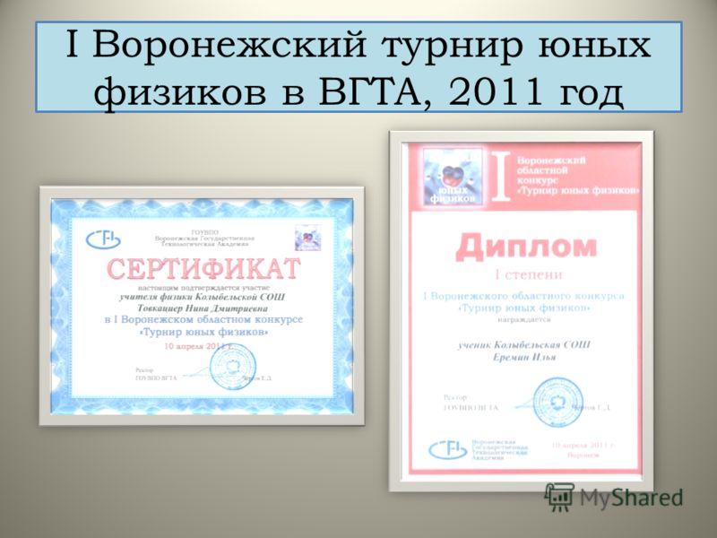 I Воронежский турнир юных физиков в ВГТА, 2011 год