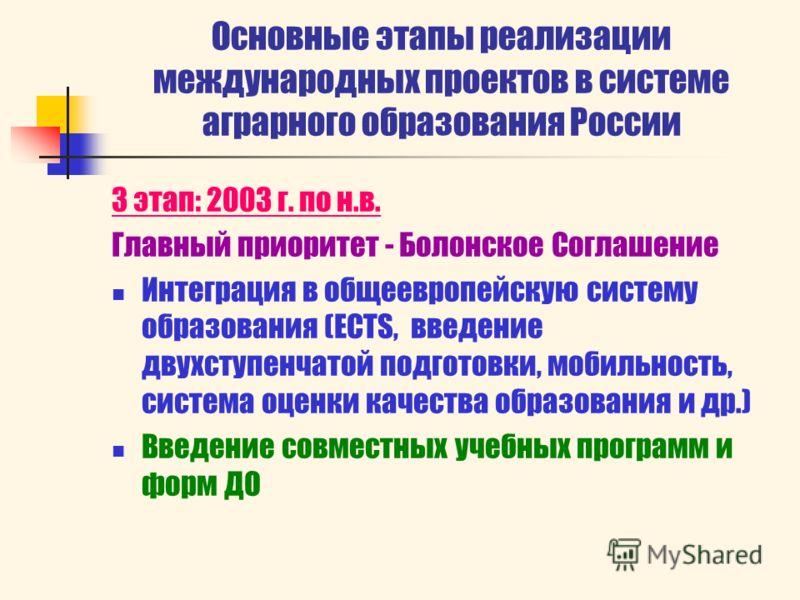 Основные этапы реализации международных проектов в системе аграрного образования России 3 этап: 2003 г. по н.в. Главный приоритет - Болонское Соглашение Интеграция в общеевропейскую систему образования (ECTS, введение двухступенчатой подготовки, моби