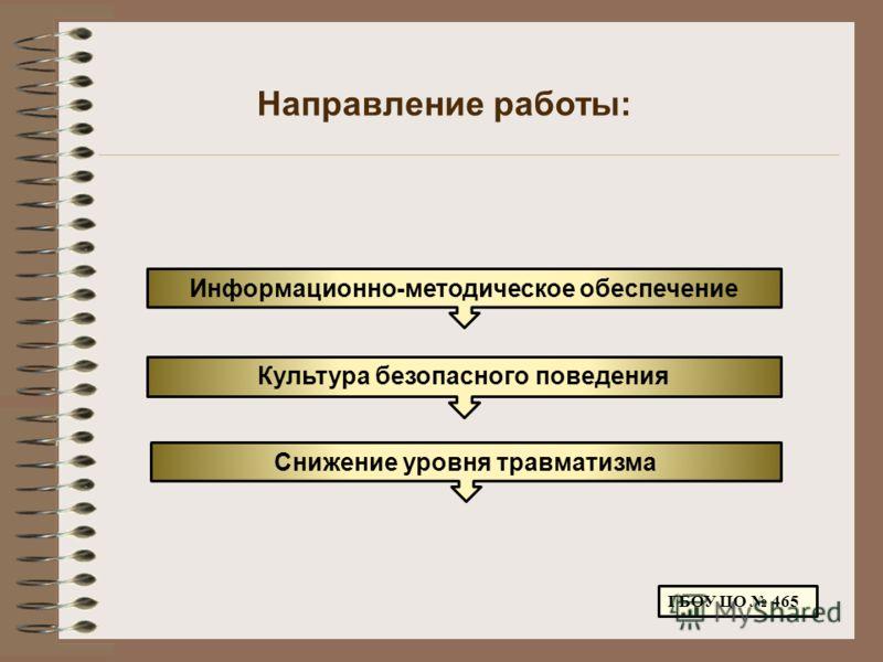 Направление работы: ГБОУ ЦО 465 Информационно-методическое обеспечение Культура безопасного поведения Снижение уровня травматизма