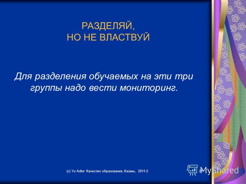 (c) Yu Adler Качество образования, Казань, 2011-221 РАЗДЕЛЯЙ, НО НЕ ВЛАСТВУЙ Для разделения обучаемых на эти три группы надо вести мониторинг.