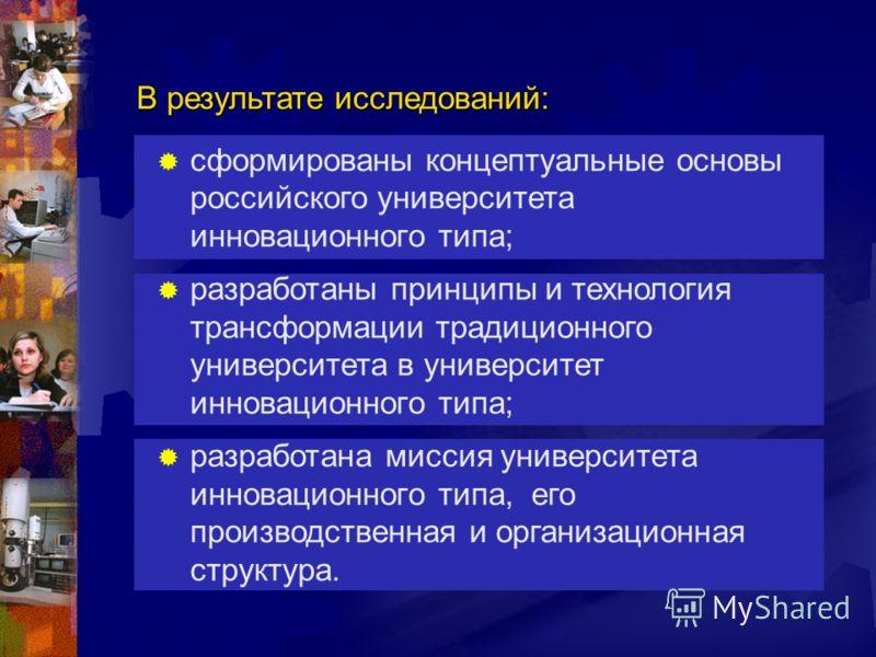 сформированы концептуальные основы российского университета инновационного типа; разработаны принципы и технология трансформации традиционного университета в университет инновационного типа; разработана миссия университета инновационного типа, его пр