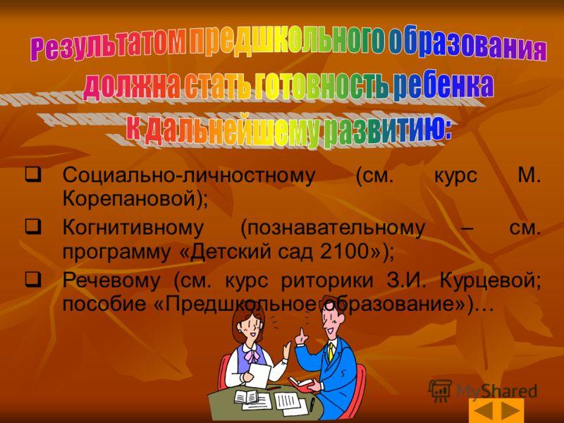 Социально-личностному (см. курс М. Корепановой); Когнитивному (познавательному – см. программу «Детский сад 2100»); Речевому (см. курс риторики З.И. Курцевой; пособие «Предшкольное образование»)…