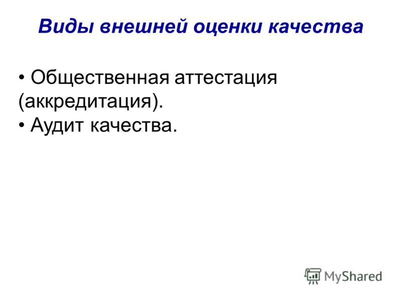 Виды внешней оценки качества Общественная аттестация (аккредитация). Аудит качества.