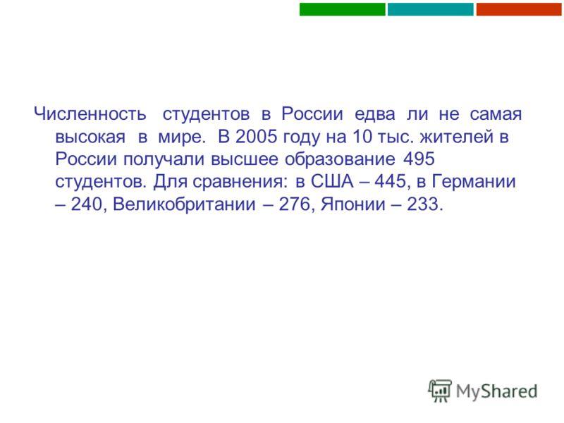 Численность студентов в России едва ли не самая высокая в мире. В 2005 году на 10 тыс. жителей в России получали высшее образование 495 студентов. Для сравнения: в США – 445, в Германии – 240, Великобритании – 276, Японии – 233.