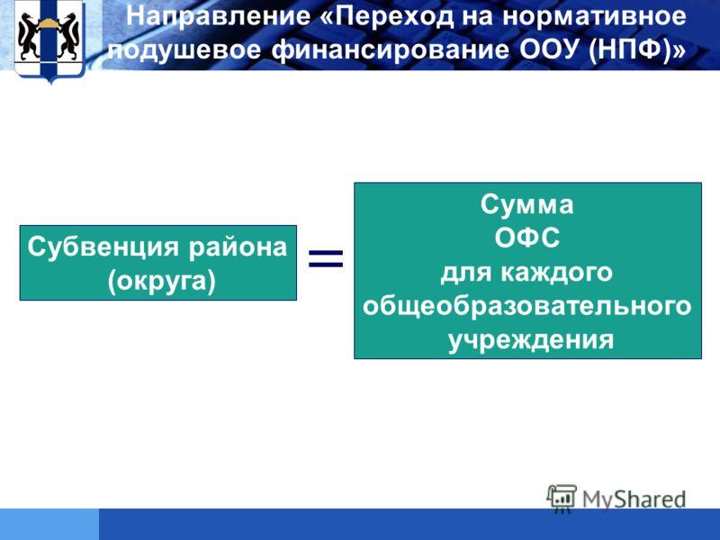 LOGO Субвенция района (округа) Сумма ОФС для каждого общеобразовательного учреждения Направление «Переход на нормативное подушевое финансирование ООУ (НПФ)»