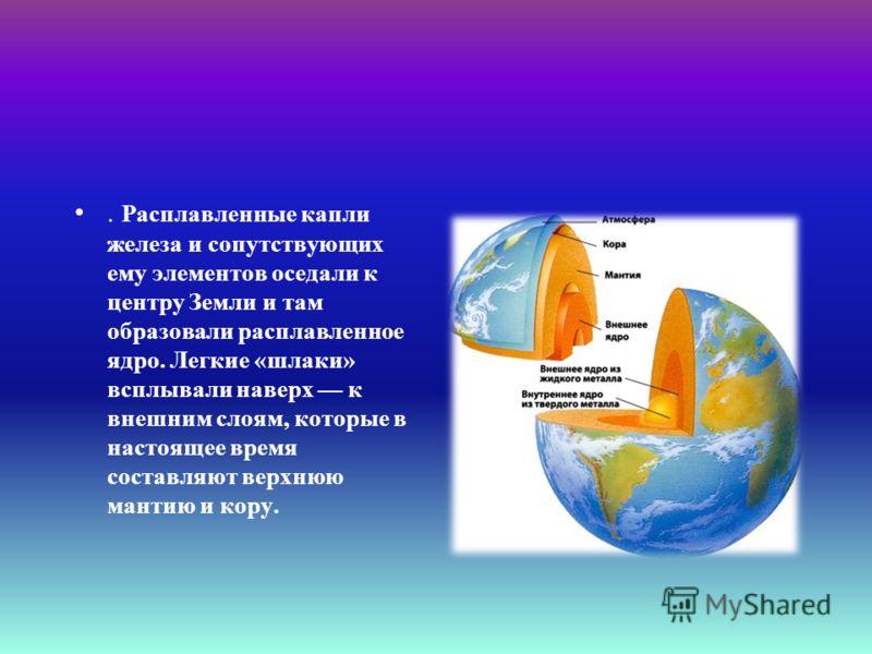 . Расплавленные капли железа и сопутствующих ему элементов оседали к центру Земли и там образовали расплавленное ядро. Легкие «шлаки» всплывали наверх к внешним слоям, которые в настоящее время составляют верхнюю мантию и кору.