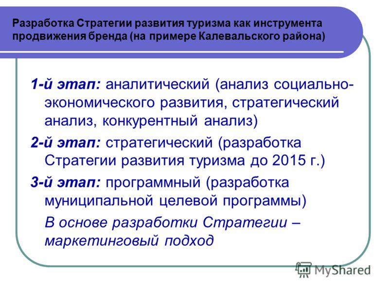 1-й этап: аналитический (анализ социально- экономического развития, стратегический анализ, конкурентный анализ) 2-й этап: стратегический (разработка Стратегии развития туризма до 2015 г.) 3-й этап: программный (разработка муниципальной целевой програ