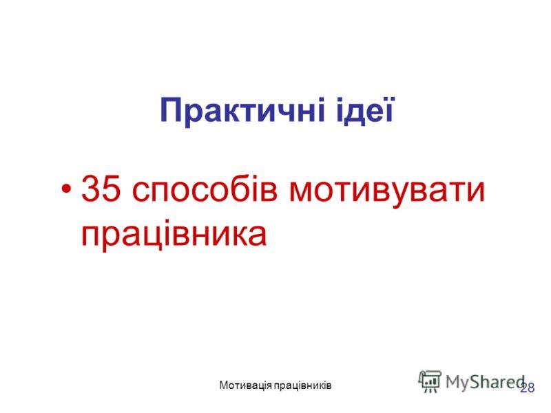 Мотивація працівників Практичні ідеї 35 способів мотивувати працівника 28