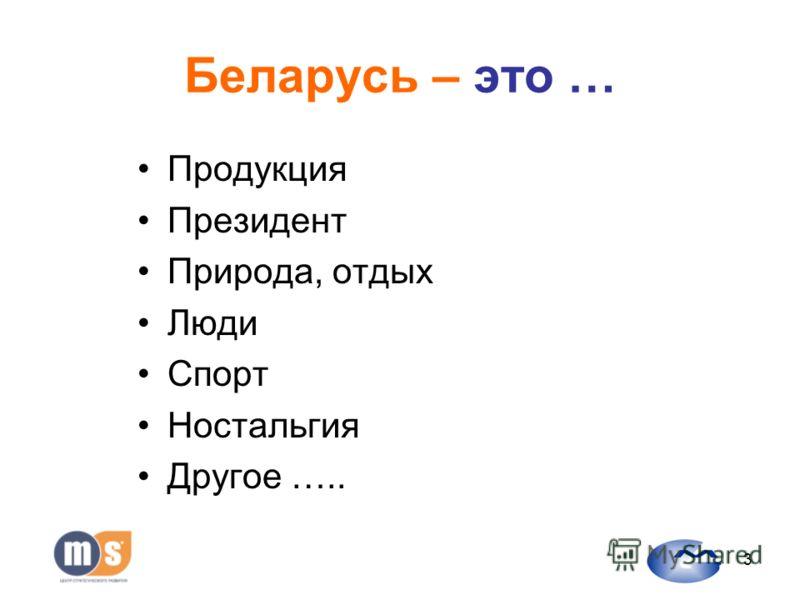 3 Беларусь – это … Продукция Президент Природа, отдых Люди Спорт Ностальгия Другое …..
