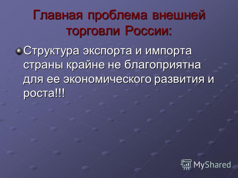 Главная проблема внешней торговли России: Структура экспорта и импорта страны крайне не благоприятна для ее экономического развития и роста!!!
