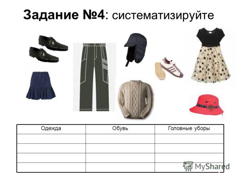 Задание 4: систематизируйте Головные уборыОбувьОдежда