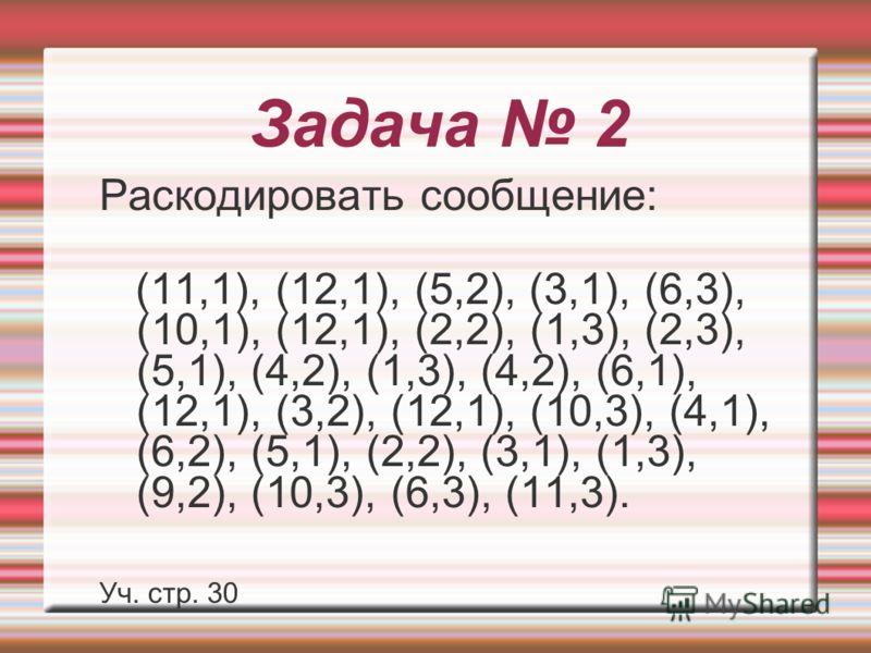 Задача 2 Раскодировать сообщение: (11,1), (12,1), (5,2), (3,1), (6,3), (10,1), (12,1), (2,2), (1,3), (2,3), (5,1), (4,2), (1,3), (4,2), (6,1), (12,1), (3,2), (12,1), (10,3), (4,1), (6,2), (5,1), (2,2), (3,1), (1,3), (9,2), (10,3), (6,3), (11,3). Уч.