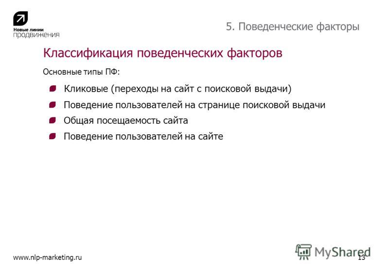 Поведение пользователей на странице поисковой выдачи Поведение пользователей на сайте www.nlp-marketing.ru Классификация поведенческих факторов 5. Поведенческие факторы Основные типы ПФ: Кликовые (переходы на сайт с поисковой выдачи) Общая посещаемос