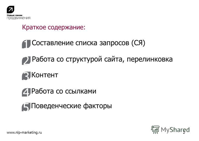 Краткое содержание: www.nlp-marketing.ru2 1 2 3 4 Составление списка запросов (СЯ) Работа со структурой сайта, перелинковка Контент Работа со ссылками 5 Поведенческие факторы