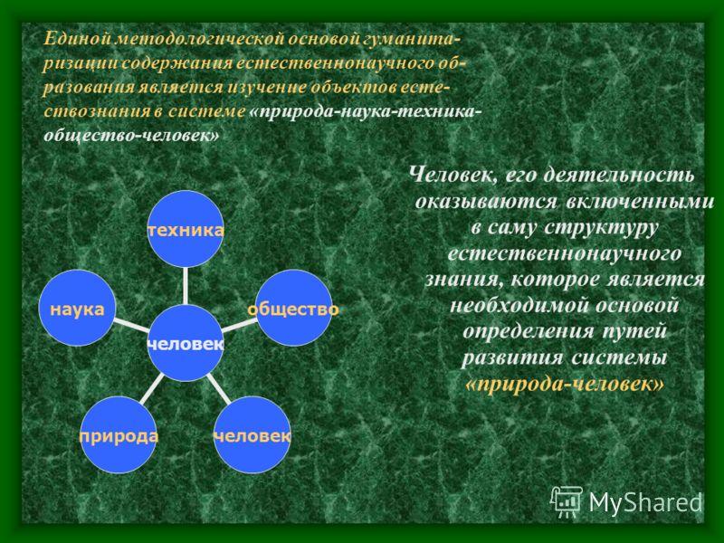 Единой методологической основой гуманита- ризации содержания естественнонаучного об- разования является изучение объектов есте- ствознания в системе «природа-наука-техника- общество-человек» Человек, его деятельность оказываются включенными в саму ст