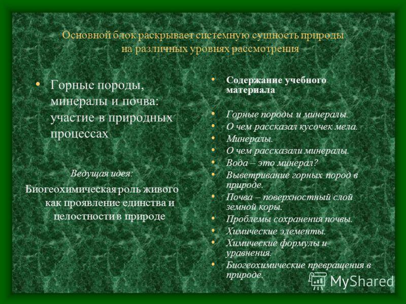 Основной блок раскрывает системную сущность природы на различных уровнях рассмотрения Горные породы, минералы и почва: участие в природных процессах Ведущая идея: Биогеохимическая роль живого как проявление единства и целостности в природе Содержание