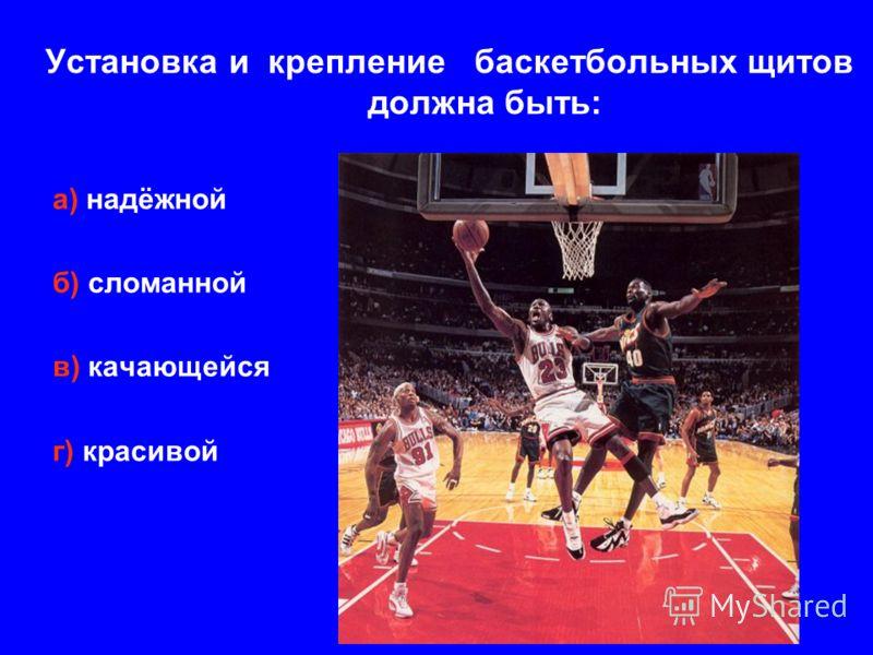 Установка и крепление баскетбольных щитов должна быть: а) надёжной б) сломанной в) качающейся г) красивой