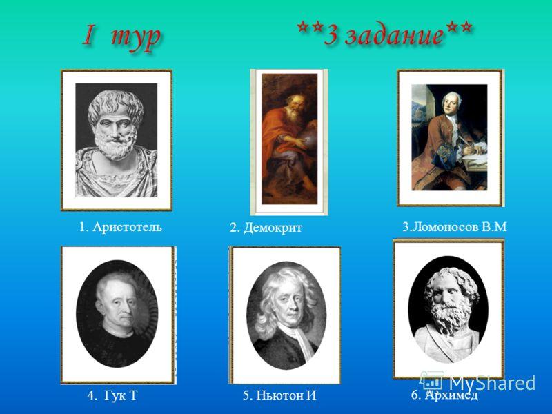 3. Ломоносов В. М 5. Ньютон И 4. Гук Т 2. Демокрит 1. Аристотель 6. Архимед