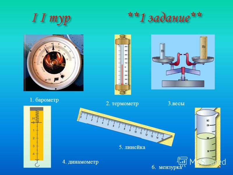 1. барометр 2. термометр 3. весы 4. динамометр 5. линейка 6. мензурка