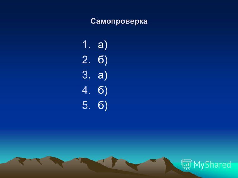 Самопроверка 1.а) 2.б) 3.а) 4.б) 5.б)