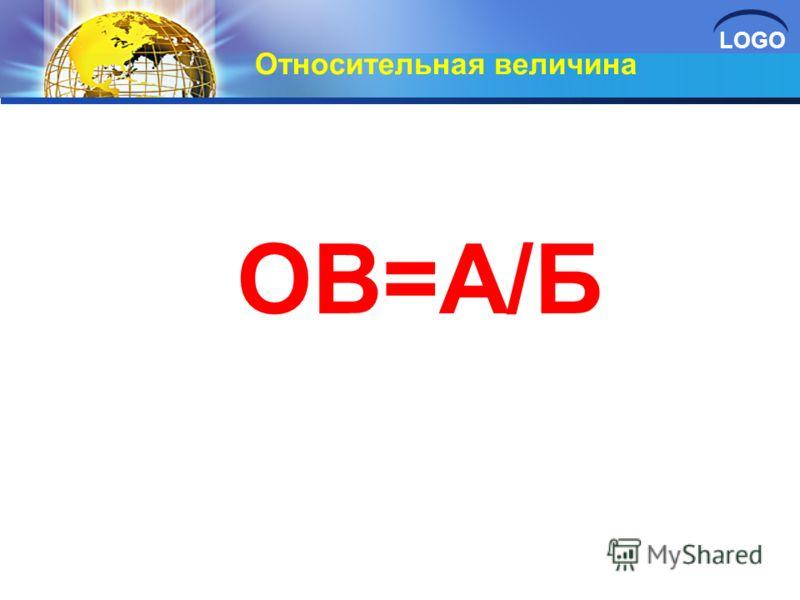 LOGO Относительная величина ОВ=А/Б