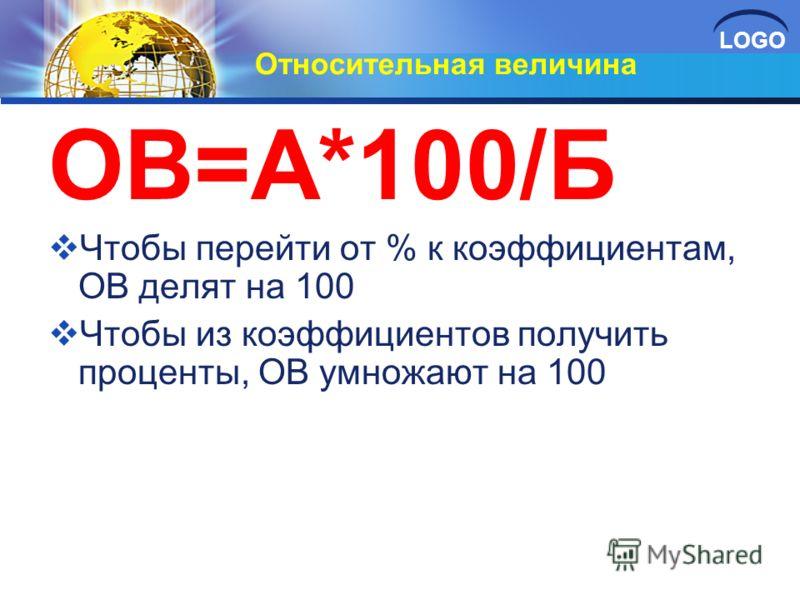LOGO Относительная величина ОВ=А*100/Б Чтобы перейти от % к коэффициентам, ОВ делят на 100 Чтобы из коэффициентов получить проценты, ОВ умножают на 100